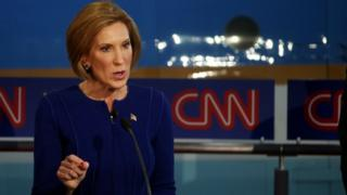 Carly Fiorina onstage at the debate at the Ronald Reagan Presidential Library in California