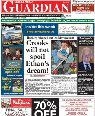 Front page of the Ballymena Guardian