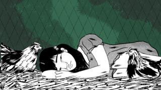 Ilustração - Laura deitada no galinheiro