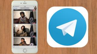 Graphic showing a mobile phone next to Telegram logo