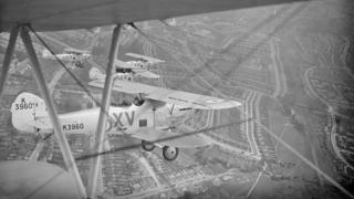 Hawker Harts of 15 Squadron RAF practising for a Hendon air display over London, July 1935