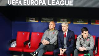 Arsene Wenger, Manager of Arsenal looks on during the UEFA Europa League Semi Final second leg match between Atletico Madrid and Arsenal FC at Estadio Wanda Metropolitano on May 3, 2018 in Madrid, Spain