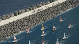 Artist impression of Swansea tidal lagoon