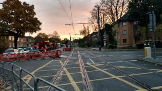 Cordon around Crodon tram crash