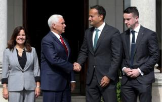 Irish Prime Minister Leo Varadkar, his partner Matthew Barrett, US Vice President Mike Pence and Second Lady Karen Pence all stand together