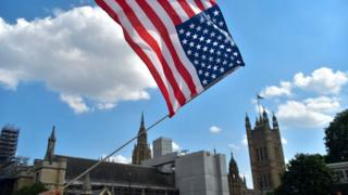 US flags at Westminster