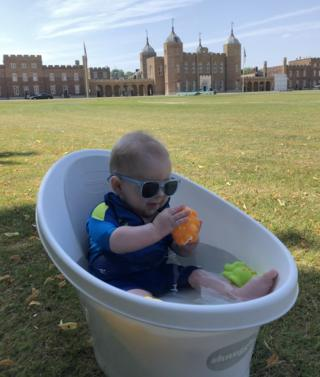 Jules cooling off outside the Royal Military Academy in Woolwich