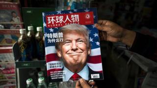 上海某报摊上以特朗普当选为封面的《环球人物》周刊(14/11/2016)