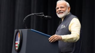 "Indian Prime Minister Narendra Modi at the ""Howdy, Modi!"" rally in Houston, Texas, on September 22, 2019."