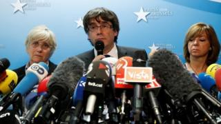 Sacked Catalan leader Carles Puigdemont attends a news conference at the Press Club Brussels Europe in Brussels, Belgium, on 31 October 2017.