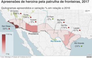Mapa mostrando apreensões de heroína ao longo da fronteira EUA-México