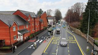 A computer generated image of a cycle lane on Whitchurch Road in Cardiff