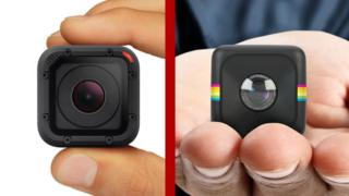 A comparison image showing the GoPro Hero 4 session and Polaroid Cube HD