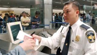 US immigration inspector at San Francisco International Airport