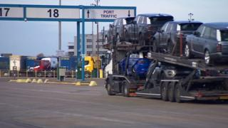 a lorry at Portsmouth Port
