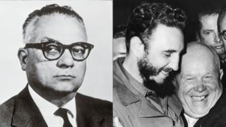 Rómulo Betancourt y del otro lado Fidel Castro y Nikita Khrushchev