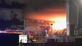 Waste plant fire