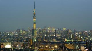 A view of the Tokyo skyline including the Skytree tower