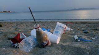 Plastic waste on Greek beach