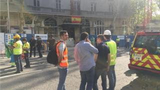The Ritz Hotel in Madrid, where workers were injured after renovation works partly collapsed