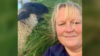 Melanie MacLean and her lamb