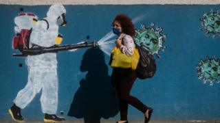 Woman in mask walking past graffitti of person spraying disinfectant on coronavirus images