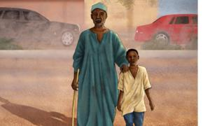 رسم تعبيري للصبي صموئيل عبد الرحيم ومتسول مكفوف