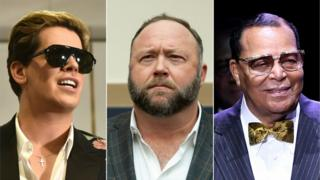 From left, pictured: Milo Yiannopoulous, Alex Jones and Louis Farrakhan