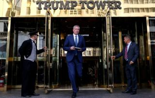 New York City Mayor Bill de Blasio at Trump Tower on 16 November 2016