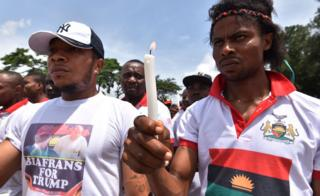 Pro-Biafra supports demonstrate on May 30, 2017 in Abidjan, during commemorations of the 50th anniversary of the Nigerian civil war. Nigeria on May 30 marks 50 years since the declaration of an independent Republic of Biafra plunged the country into a civil war, amid renewed tensions and fresh calls for a separate state. The main pro-independence groups - the Indigenous People of Biafra (IPOB), and the Movement for the Actualisation of the Sovereign State of Biafra (MASSOB) - have called for a day of reflection.