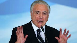 Former Brazilian President Michel Temer gives a speech