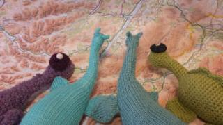Knitted Nessies and map