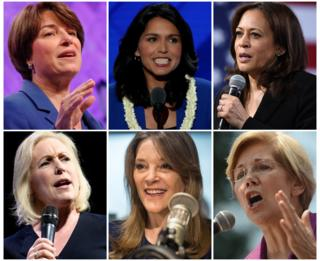 Collage photograph showing women running for Democrats