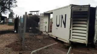 Burnt containers are seen at the United Nations base in Beni in the eastern part of the Democratic Republic of Congo
