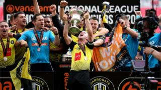 sports Harrogate Town players celebrate