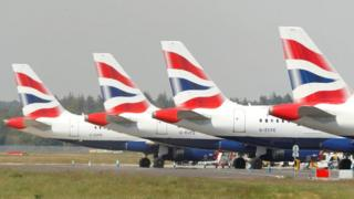 British Airways aircraft parked up