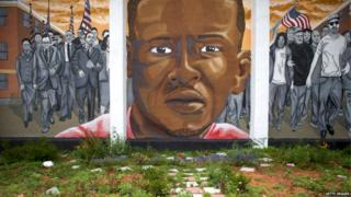 A mural for Freddie Gray, whose death in police custody sparked riots in Baltimore