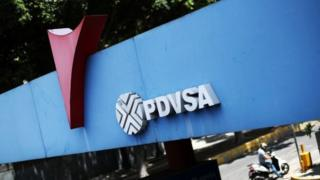 PDVSA's logo is seen at a petrol station in Caracas, Venezuela May 17, 2019.