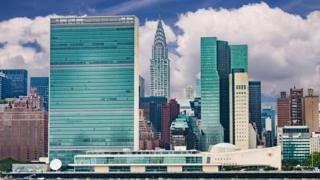 Prédios, entre eles o da ONU, no horizonte de Nova York