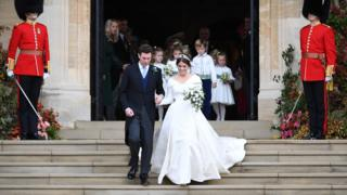 Princess Eugenie and Jack Brooksbank at St George's Chapel in Windsor Castle, Windsor, Britain.