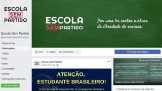 Página do Escola Sem Partido no Facebook