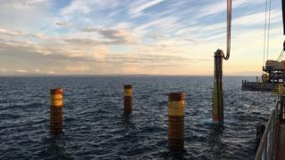 Installed piles for Beatrice Offshore Windfarm project