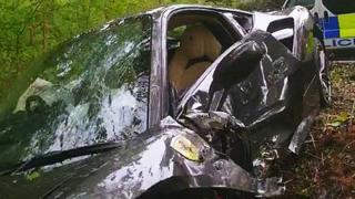 Grey Ferrari 488 GTB crashed into a tree.