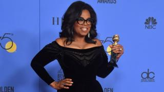 Oprah Winfrey at the Gold Globes on 7 January 2018
