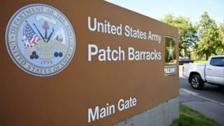 Entrance sign at main US base in Stuttgart, Germany