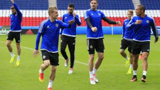 Northern Ireland players training ahead of their Group C match with Germany at the Parc Des Princes stadium