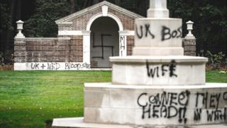 Graffiti at cemetery, 13 Sep 19