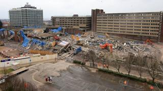 Aerial view of Greyfriars bus station demolition site