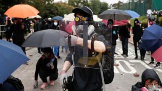 Manifestants à l'Université chinoise de Hong Kong