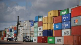 Containers at the port of Felixstowe